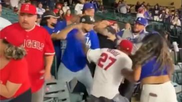 Angels Dodgers fan fight video