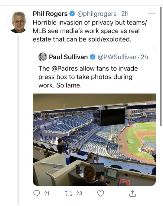 Baseball journalist mad at fans being allowed in the press box
