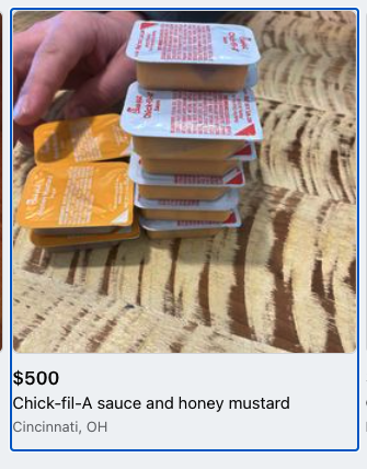 Chick fil A sauce Facebook Marketplace