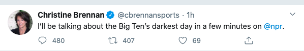 Christine Brennan Big Ten Tweet