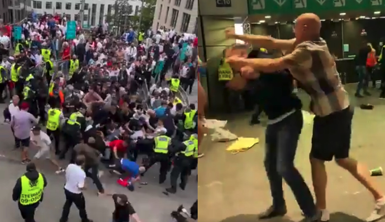 English soccer fans rush Wembley gates