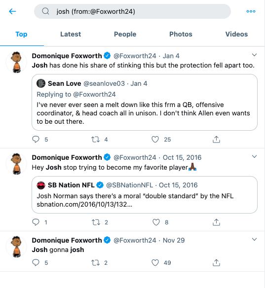 Foxworth tweets Josh Allen