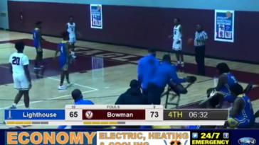 Indiana high school basketball coach throws chair on the court