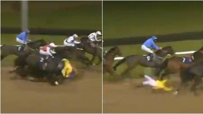 Jockey Ben Curtis falls off horse video