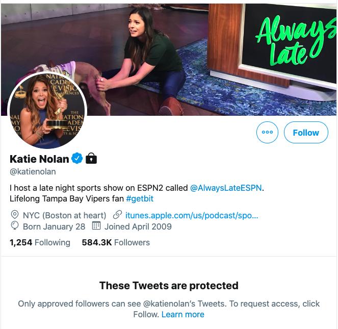 Katie Nolan Twitter locked