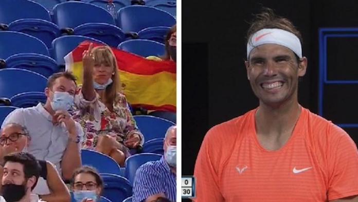 Lady middle fingers Nadal Australian Open