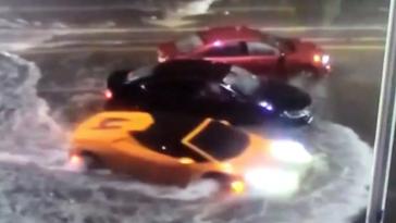 Lambo submarine Miami flood waters