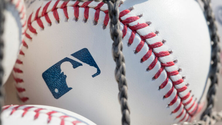 A baseball with MLB logo is seen at Citizens Bank Park before a game between the Washington Nationals and the Philadelphia Phillies.