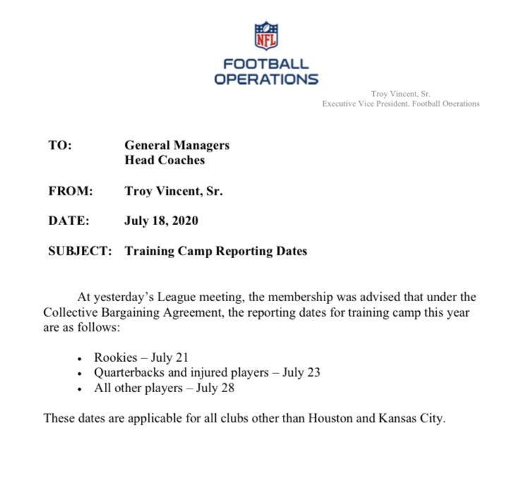 NFL training camp memo