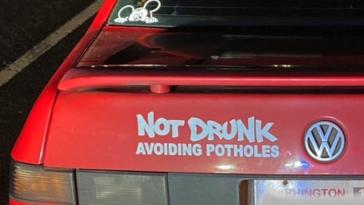 Not Drunk Avoiding Potholes driver