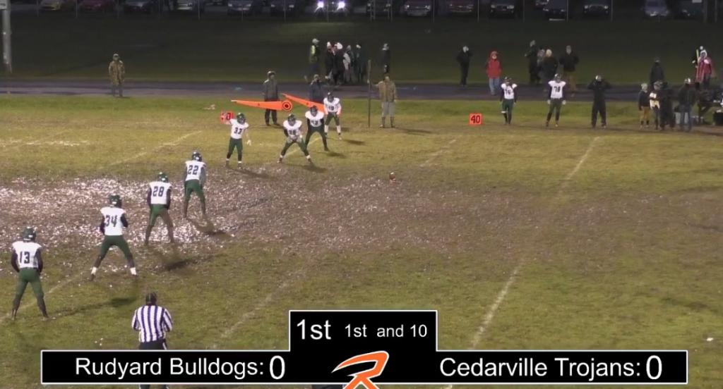 Rudyard Cedarville football game mud video