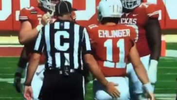Sam Ehlinger butt tap