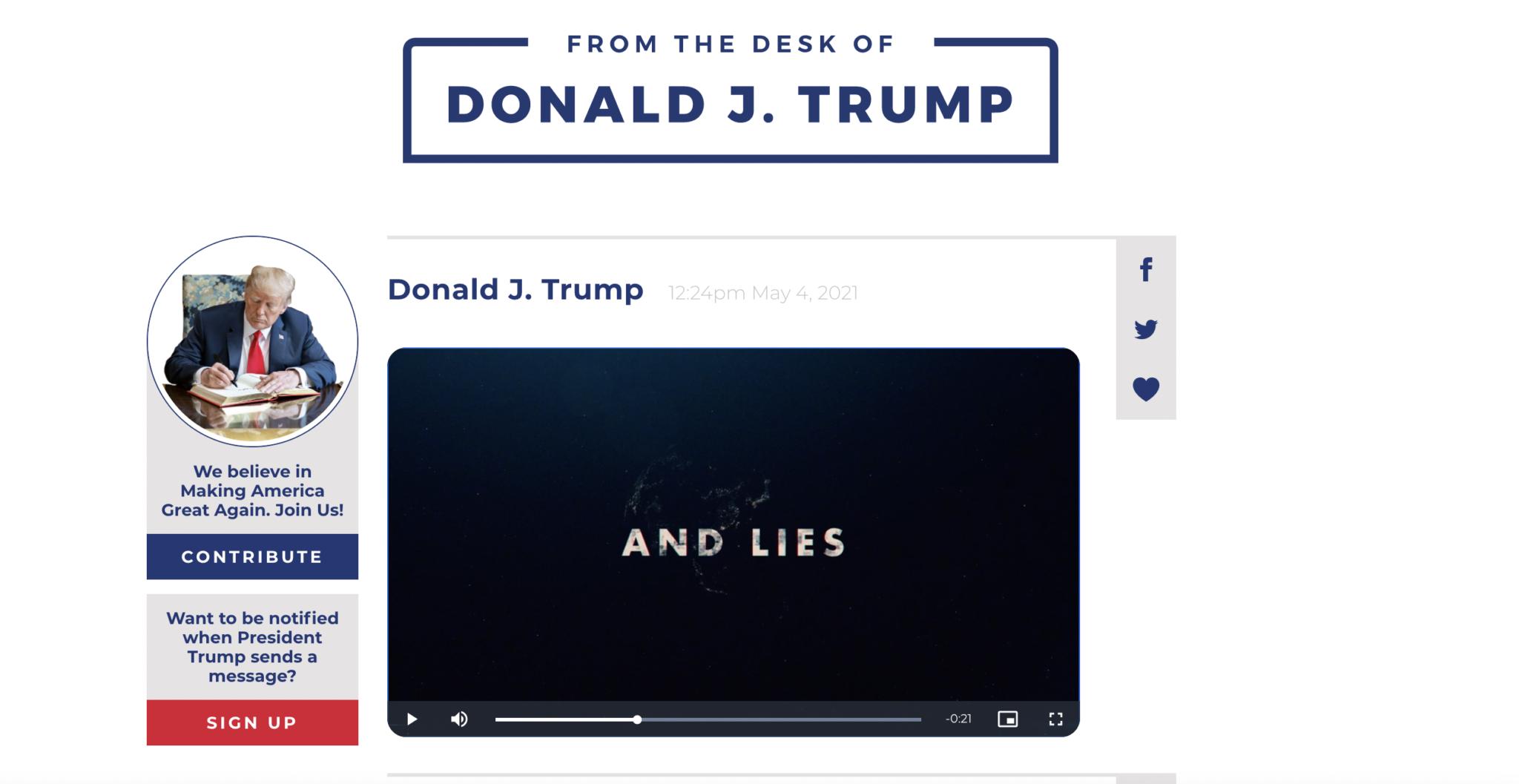 Trump Launches New Online Communications Platform