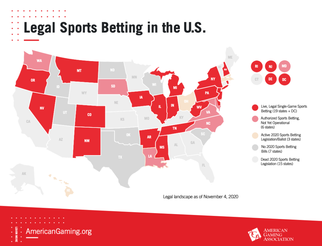 Sports betting state map
