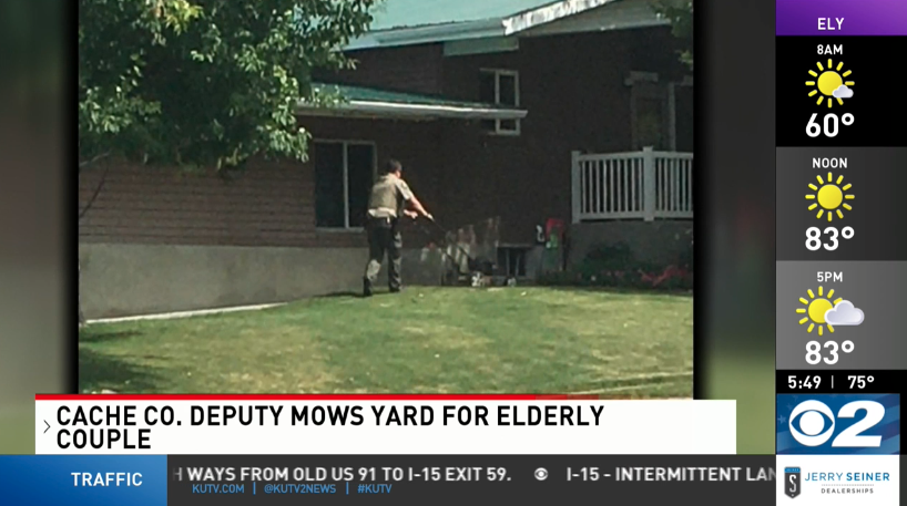 Utah deputy mows elderly couple yard