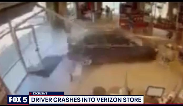 Verizon store car crash